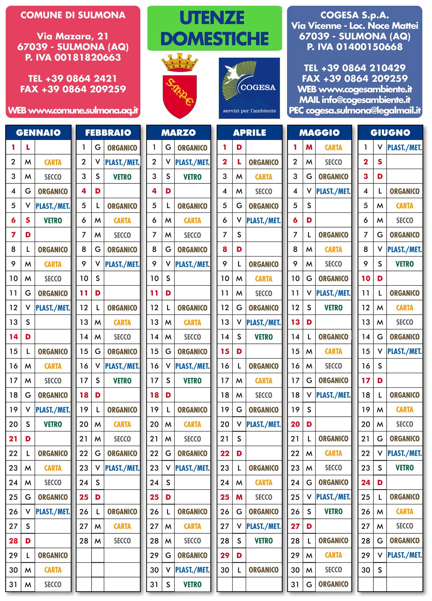 Calendario Raccolta Differenziata Napoli.Sulmona Dal 2 Gennaio La Raccolta Differenziata Sara Estesa